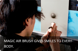 MAGIC AIR BRUSH GIVES SMILES TO EVERYBODY